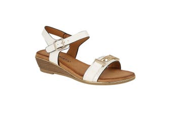 Cipriata Womens/Ladies Italina Brooch Trimmed Vamp Sandal (White) (5 UK)