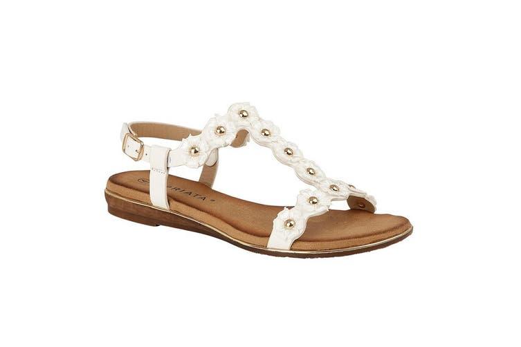 Cipriata Womens/Ladies Estella Multi Flower Textile Sandal (White) (4 UK)