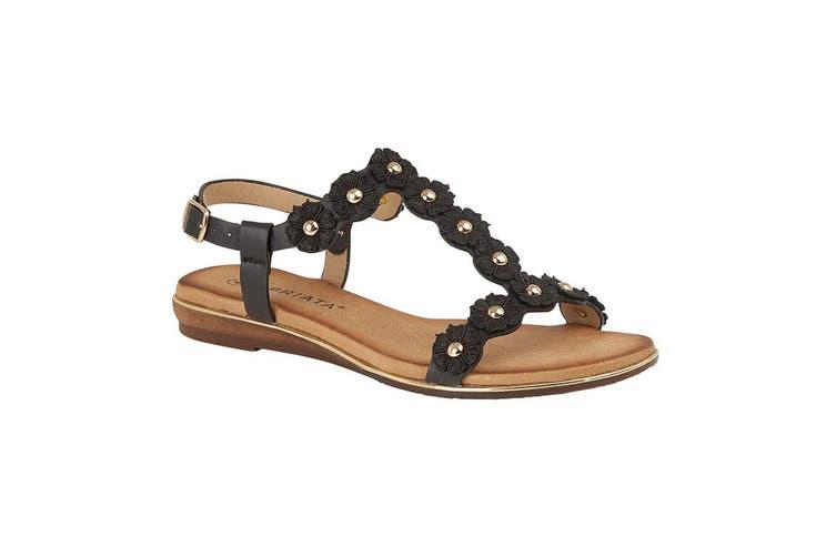 Cipriata Womens/Ladies Estella Multi Flower Textile Sandal (Black) (8 UK)