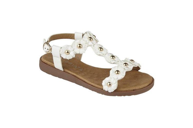 Cipriata Girls Estella Multi Flower Textile Sandals (White) (2 Junior UK)