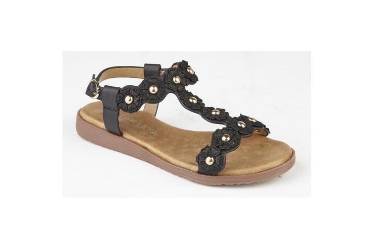 Cipriata Girls Estella Multi Flower Textile Sandals (Black) (13 Child UK)