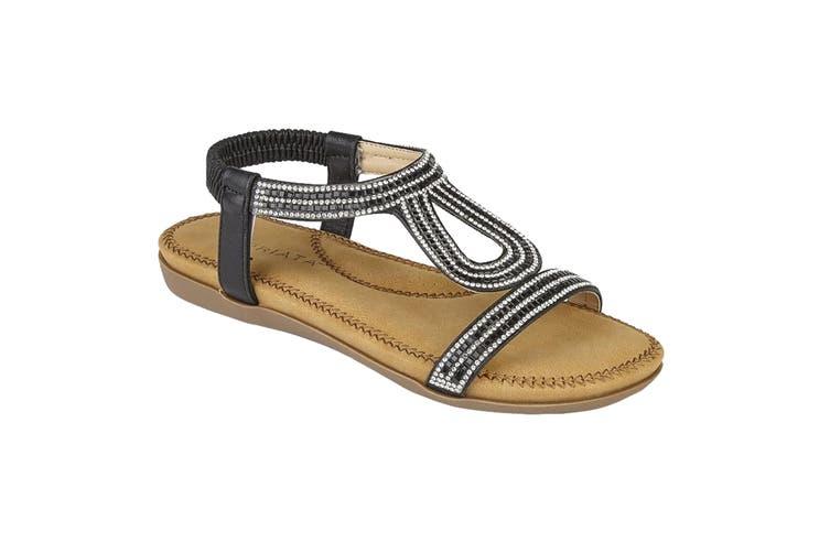 Cipriata Womens/Ladies Nicole Diamante Elasticated Halter Back Sandals (Black) (7 UK)