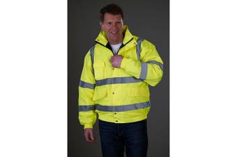 Grafters Unisex Hi-Visibility Waterproof Bomber Jacket (Yellow) (M)