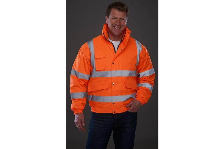 Grafters Unisex Hi-Visibility Waterproof Bomber Jacket (Orange) (3XL)