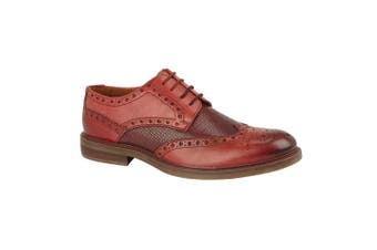 Roamers Mens Tan Leather Laced Shoe (Red) (8 UK)