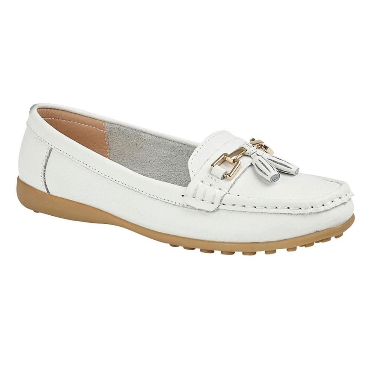 Action Leather Tassle Loafers (White