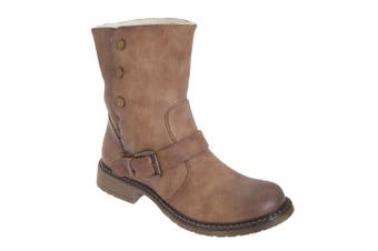 Cats Eyes Womens/Ladies Fold Down Biker Style Ankle Boots (Tan) (8 UK)