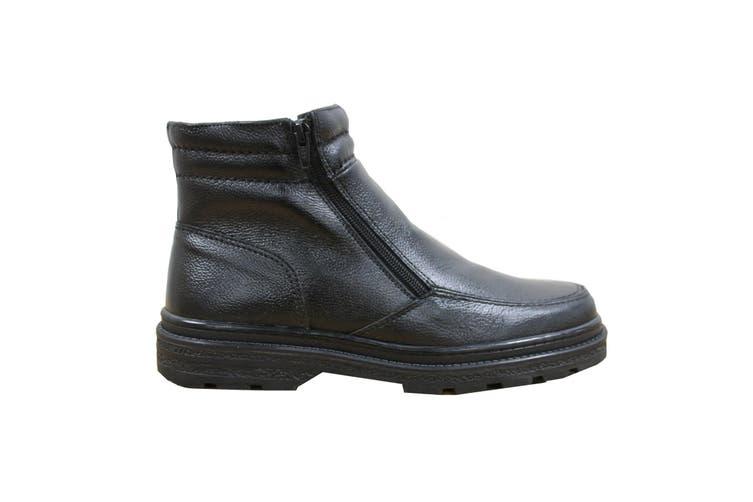 Roamers Mens Twin Zip Faux Fur Thermal Warm Lined Boots (Black) (8 UK)