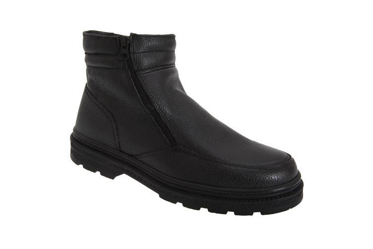 Roamers Mens Twin Zip Faux Fur Thermal Warm Lined Boots (Black) (9 UK)