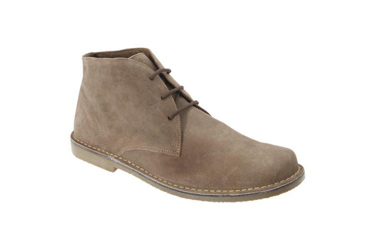 Roamers Mens Real Suede Fulfit Desert Boots (Sand) (10 UK)
