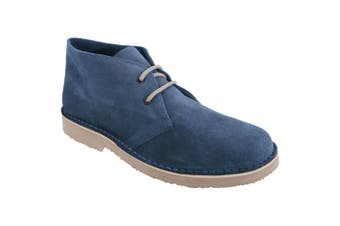 Roamers Mens Real Suede Round Toe Unlined Desert Boots (Navy) (10 UK)