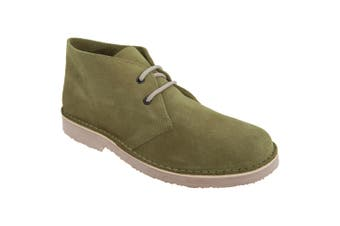 Roamers Mens Real Suede Round Toe Unlined Desert Boots (Khaki) (11 UK)