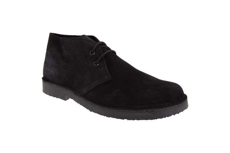 Roamers Mens Real Suede Round Toe Unlined Desert Boots (Black) (8 UK)