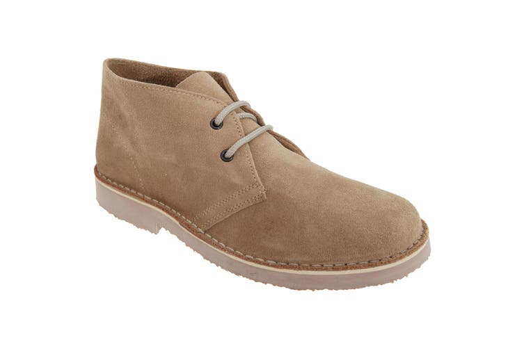 Roamers Mens Real Suede Round Toe Unlined Desert Boots (Camel) (12 UK)