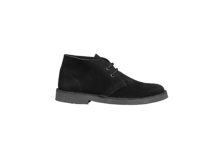Roamers Mens Real Suede Round Toe Unlined Desert Boots (Black) (12 UK)