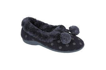 Sleepers Womens/Ladies Marge Extra Comfort Memory Foam Pom-Pom Polka Dot Cuff Slippers (Navy) - UTDF282