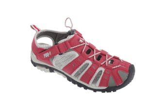 PDQ Womens/Ladies Toggle & Touch Fastening Sports Sandals (Red/Grey) (5 UK)