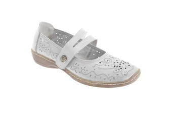 Boulevard Womens/Ladies Touch Fastening Perforated Bar Casual Leather Shoes (White) (4 UK)