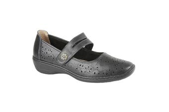 Boulevard Womens/Ladies Touch Fastening Perforated Bar Casual Leather Shoes (Black) (3 UK)