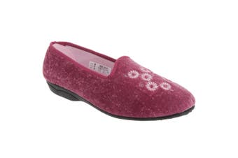 Zedzzz Womens/Ladies Cathy Floral Embroidered Velour Slippers (Heather) - UTDF494