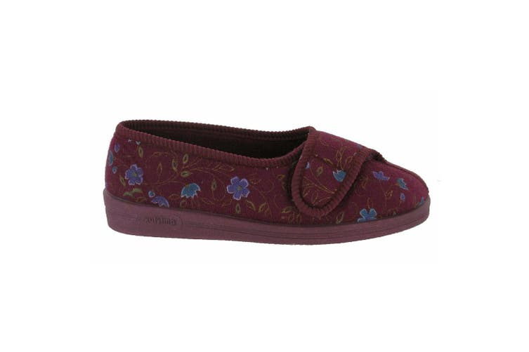 Comfylux Womens/Ladies Diana Floral Slippers (Wine) (4 UK)