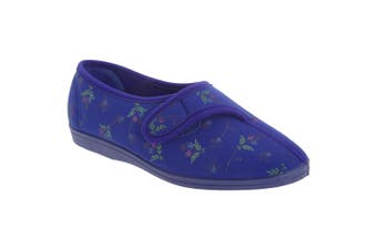 Sleepers Womens/Ladies Dora Touch Fastening Floral Slippers (Navy Blue) (6 UK)