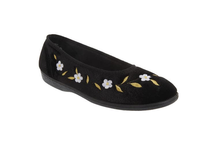 Sleepers Womens/Ladies Monica Floral Velour Slippers (Black) (5 UK)