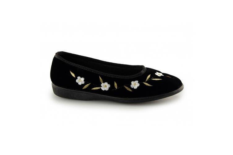 Sleepers Womens/Ladies Monica Floral Velour Slippers (Black) (6 UK)