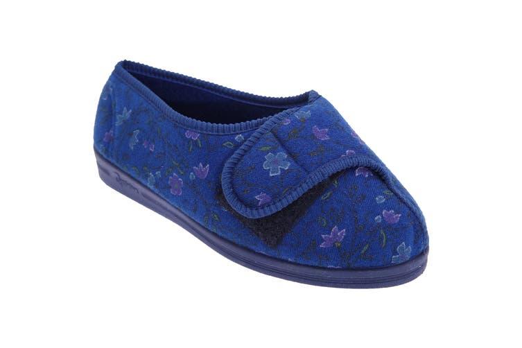 Comfylux Womens/Ladies Davina Floral Superwide Slippers (Navy Blue) (3 UK)