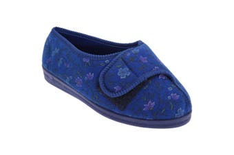 Comfylux Womens/Ladies Davina Floral Superwide Slippers (Navy Blue) (7 UK)