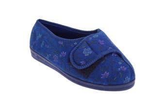 Comfylux Womens/Ladies Davina Floral Superwide Slippers (Navy Blue) (8 UK)
