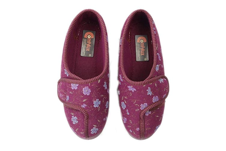 Comfylux Womens/Ladies Davina Floral Superwide Slippers (Wine) (3 UK)