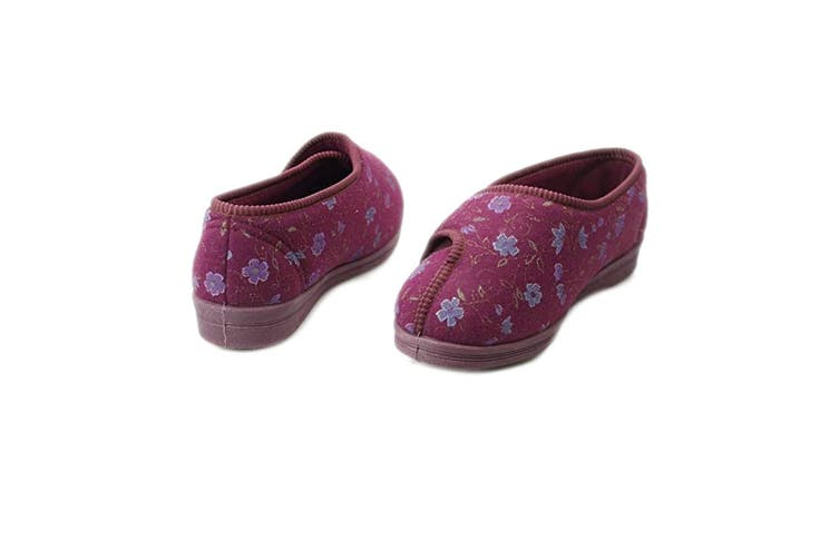 Comfylux Womens/Ladies Davina Floral Superwide Slippers (Wine) (5 UK)