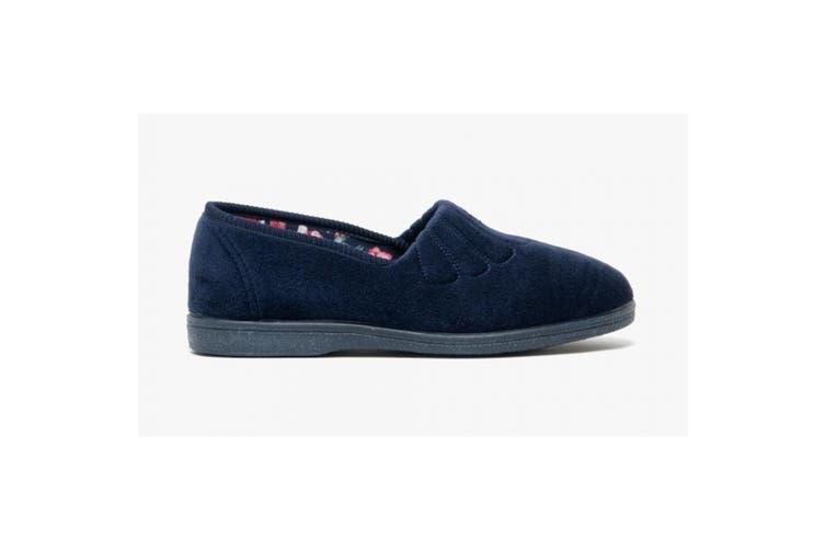 Sleepers Womens/Ladies Zara Fan Stitch Wide Fitting Slippers (Navy Blue) (3 UK)