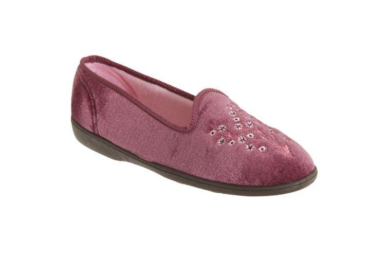 Sleepers Womens/Ladies Nieta Plain Embroidered Slippers (Heather) (6 UK)