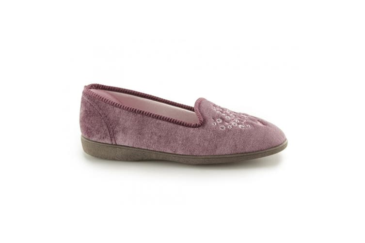 Sleepers Womens/Ladies Nieta Plain Embroidered Slippers (Heather) (8 UK)