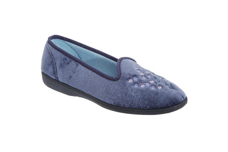 Sleepers Womens/Ladies Nieta Plain Embroidered Slippers (Blueberry) (6 UK)