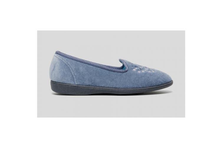 Sleepers Womens/Ladies Nieta Plain Embroidered Slippers (Blueberry) (7 UK)