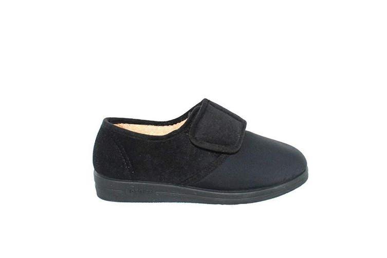 Comfylux Womens/Ladies Stella Superwide Slippers (Black) (3 UK)