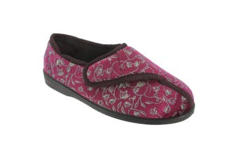 Zedzzz Womens/Ladies Janice Touch Fastening Floral Slippers (Wine) - UTDF533