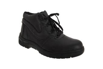 Grafters Mens Grain Leather Padded Ankle Safety Toe Cap Boots (Black) - UTDF673