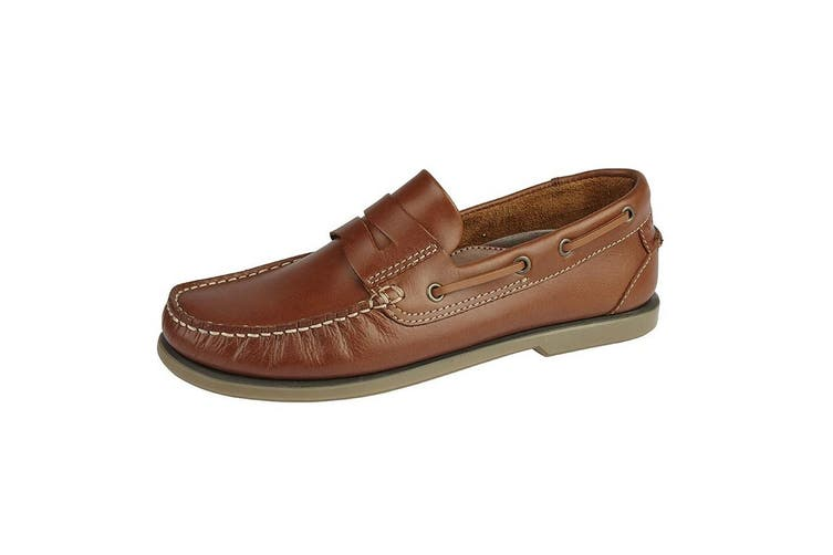 Dek Mens Leather Saddle Casual Shoes (Golden Tan) (6 UK)