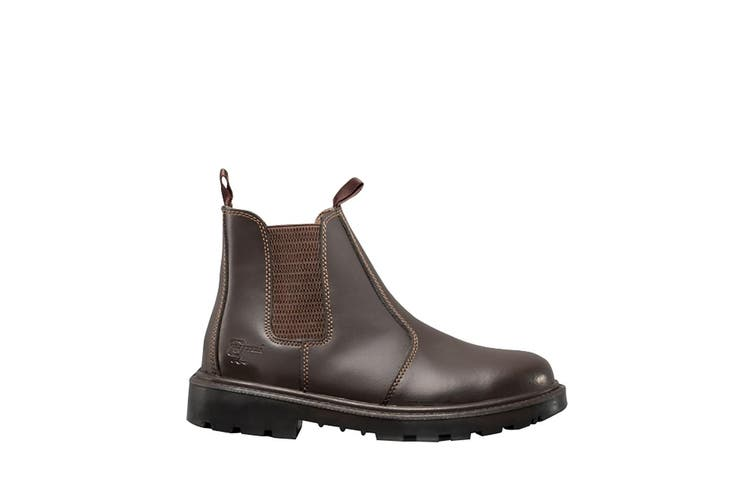 Grafters Mens Grinder Safety Twin Gusset Leather Dealer Boots (Brown) (4 UK)