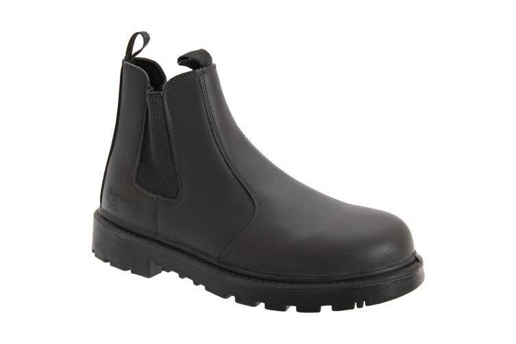 Grafters Mens Grinder Safety Twin Gusset Leather Dealer Boots (Black) (7 UK)