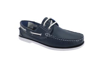 Dek Mens Leather Non Marking Moccasin Boat Shoes (Navy Blue) - UTDF765