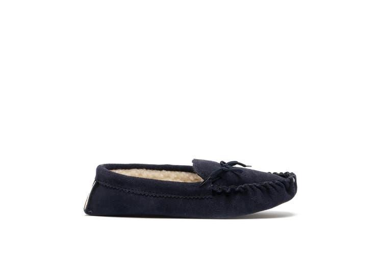 Mokkers Mens Jake Real Suede Moccasin Slippers (Navy Blue) (11 UK)