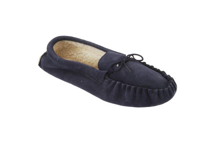 Mokkers Mens Jake Real Suede Moccasin Slippers (Navy Blue) (12 UK)