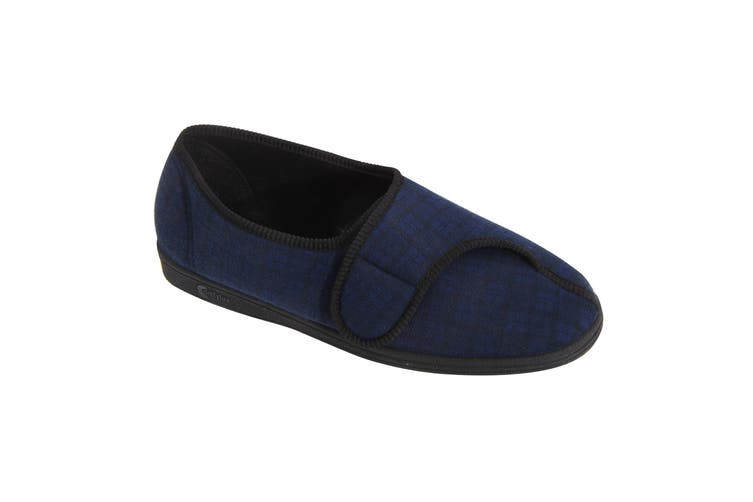 Comfylux Mens Paul Check Slippers (Navy Blue) (10 UK)