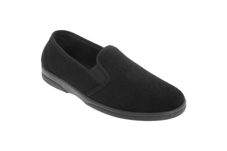 Sleepers Mens Anthony IV Velour Gusset Slippers (Black) (13 UK)