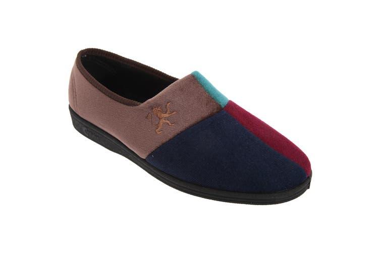 Comfylux Mens Harlequin Multi Velour Slippers (Multicoloured) (6 UK)